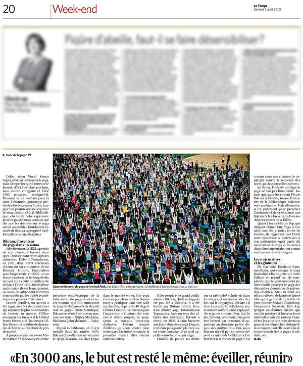 Le journal suisse Le Temps demande l'avis sur le yoga moderne aux fondateurs d'INNERCITYOGA à Geneve, 2010.