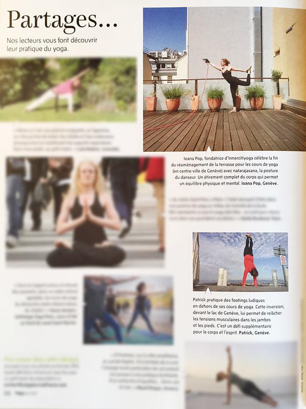 Yoga Journal France présente Ioana sur la  terrasse  d' INNERCITYOGA et Patric avec le  yoga pour athlétes  dans sa première parution.