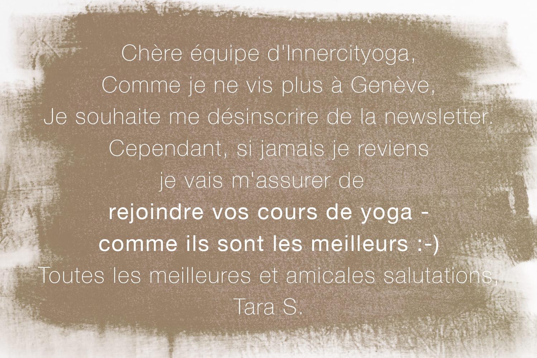 Excellent témoignage pour le centre de yoga INNERCITYOGA à Geneve