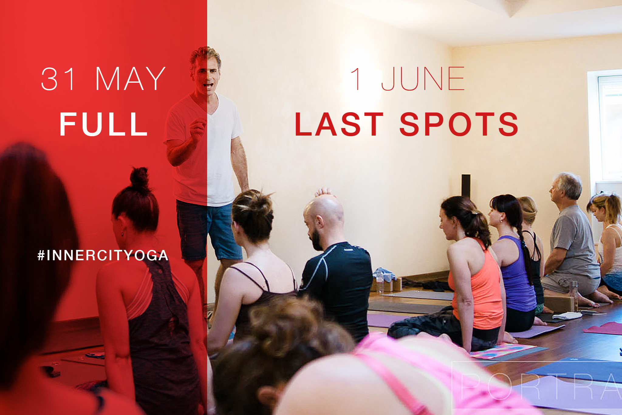 The Poweryoga Masterclass on 31 May is fully booked. Last spots available for the Poweryoga Masterclass 2 on Friday 1 June.
