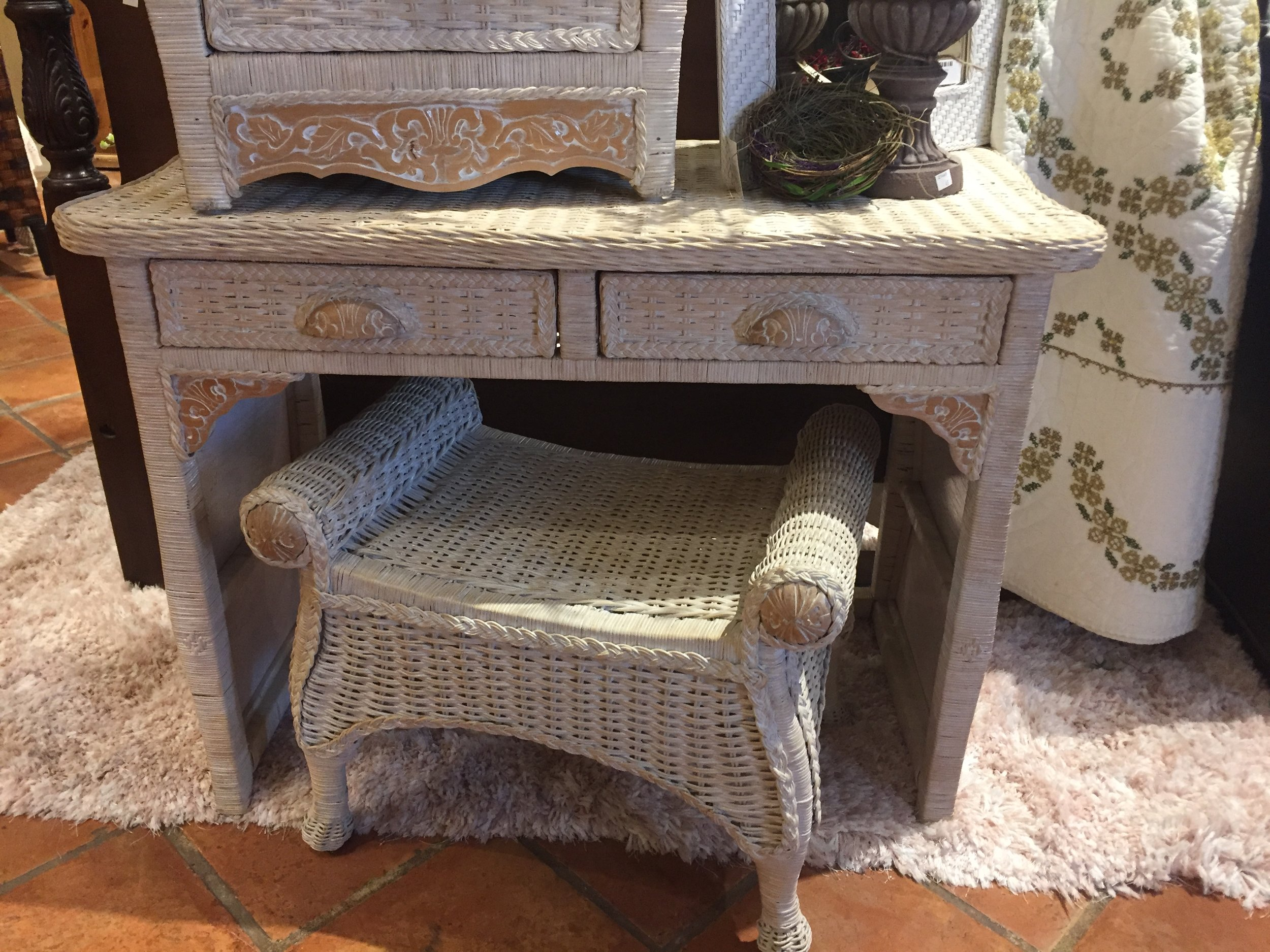 SOLD! Wicker Vanity and Stool $149.95 - C0893 16697