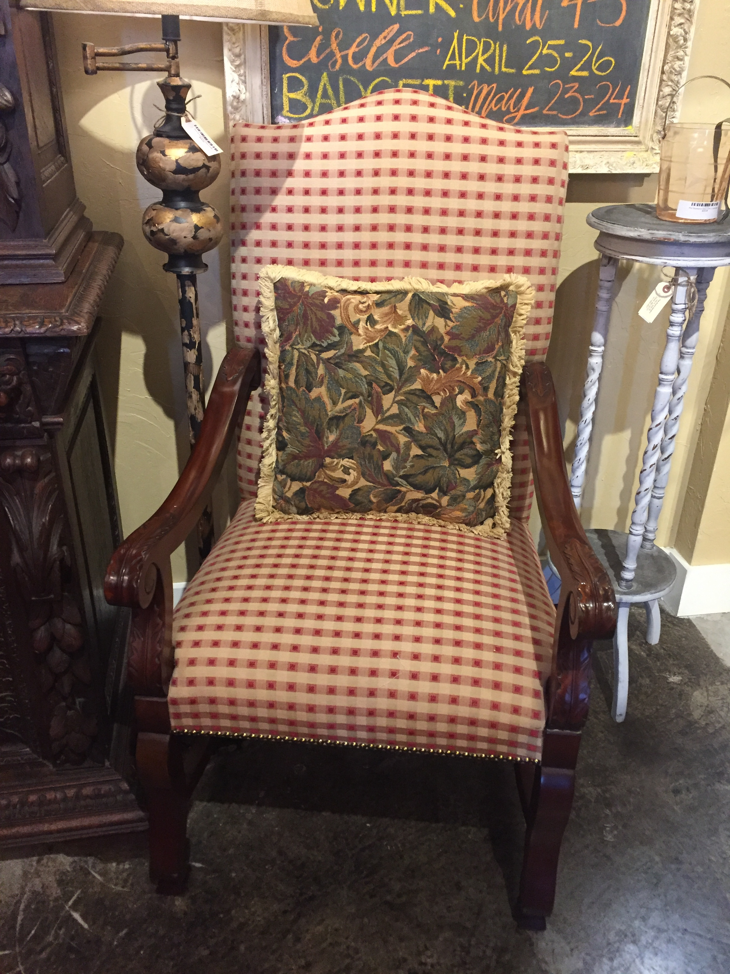 SOLD! Red & Cream Plaid Chair $329.95 - C1033 22515