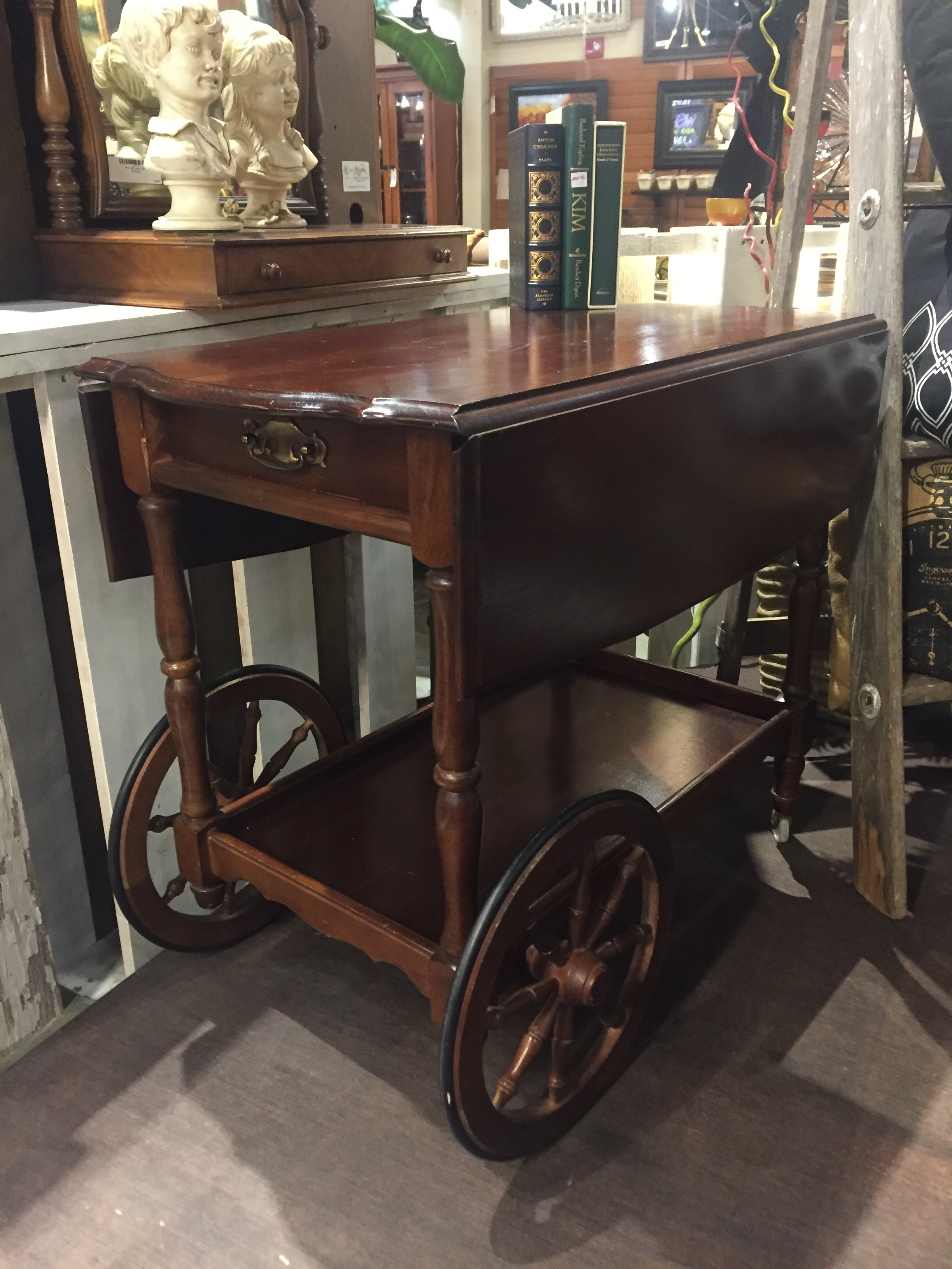 Wooden Vintage Bar Cart $160.00 - C1043
