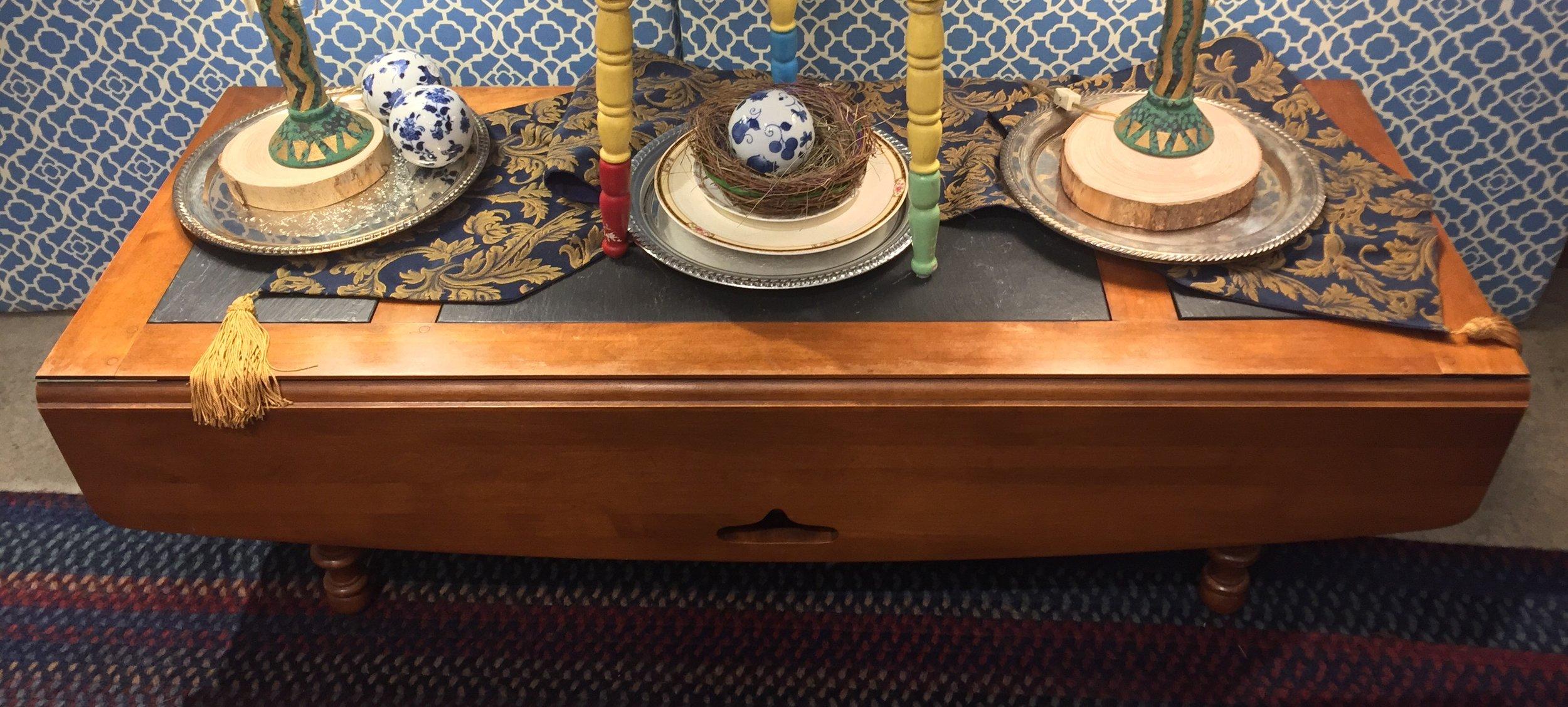 Drop Leaf Slate Top Coffee Table $119.95 - C1043 22809