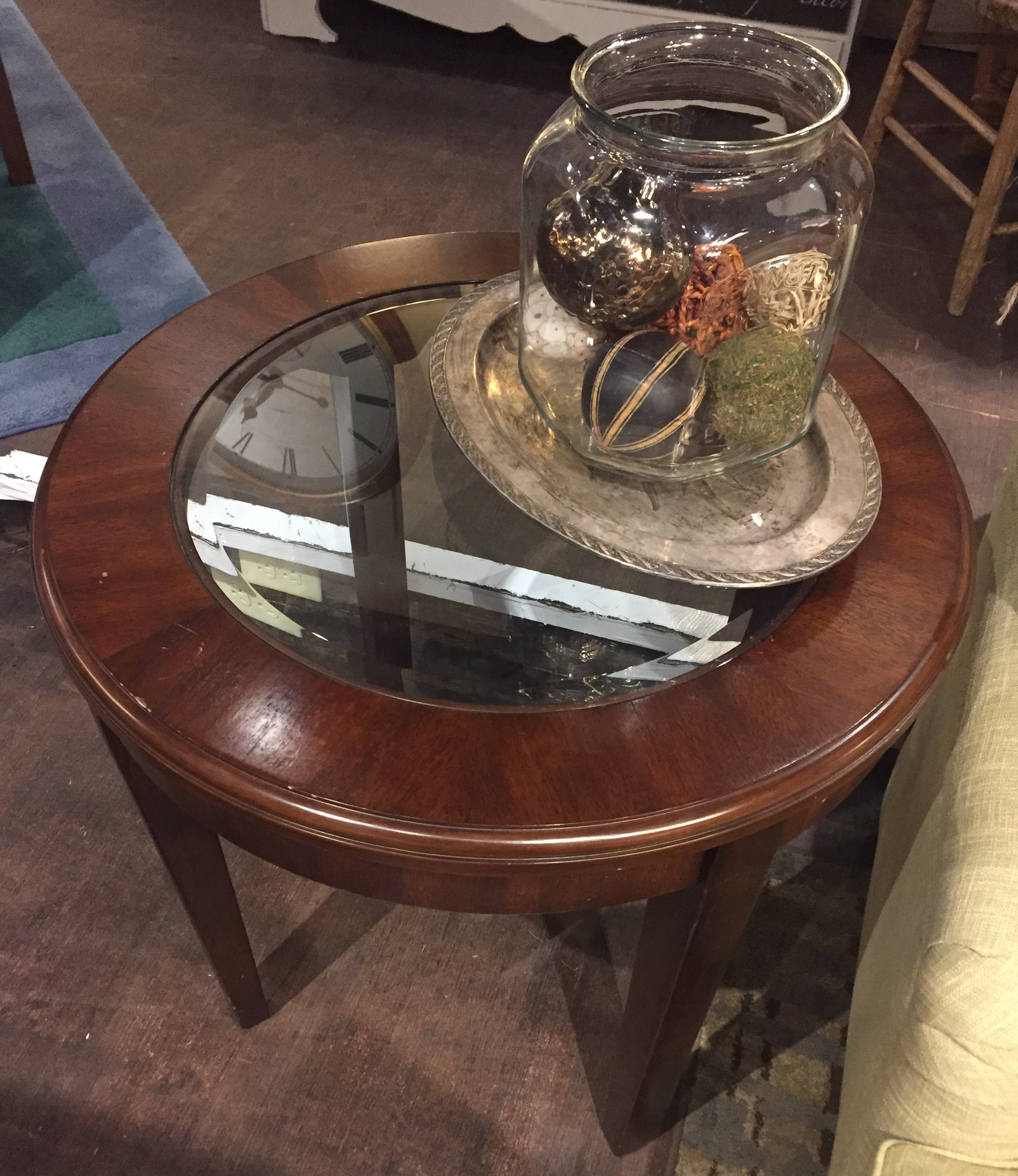Round Glass Top End Table $69.95 - C1084 23461