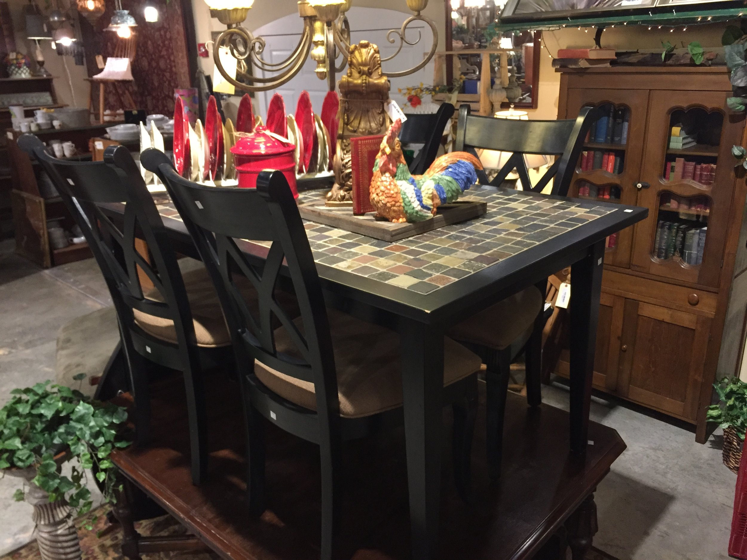 SOLD! Stone Top Table and 4 Chairs $319.95 - C1055 23805