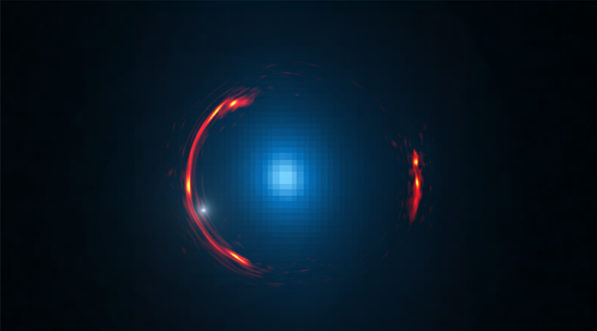 Composite image of the gravitational lens SDP.81 showing the distorted ALMA image of the more distant galaxy (red arcs) and the Hubble optical image of the nearby lensing galaxy (blue center object).  Credit: Y. Hezaveh, Stanford Univ.; ALMA (NRAO/ESO/NAOJ); NASA/ESA Hubble Space Telescope