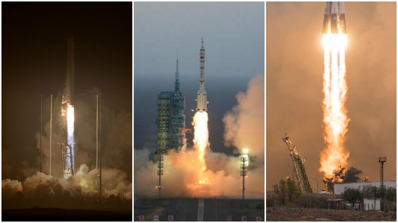 A composite image of three launches: Antares (Oct. 17, 2016), Shenzhou 11 (Oct. 17, 2016), Soyuz (Oct. 19, 2016)  Credits: NASA/Bill Ingalls, XINHUA via AP Photo, NASA/Joel Kowsky