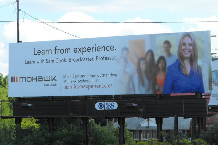 Sam's dream was to be featured on a giant billboard ... and it finally happened! She was also featured on many bus shelters across the GHTA too!