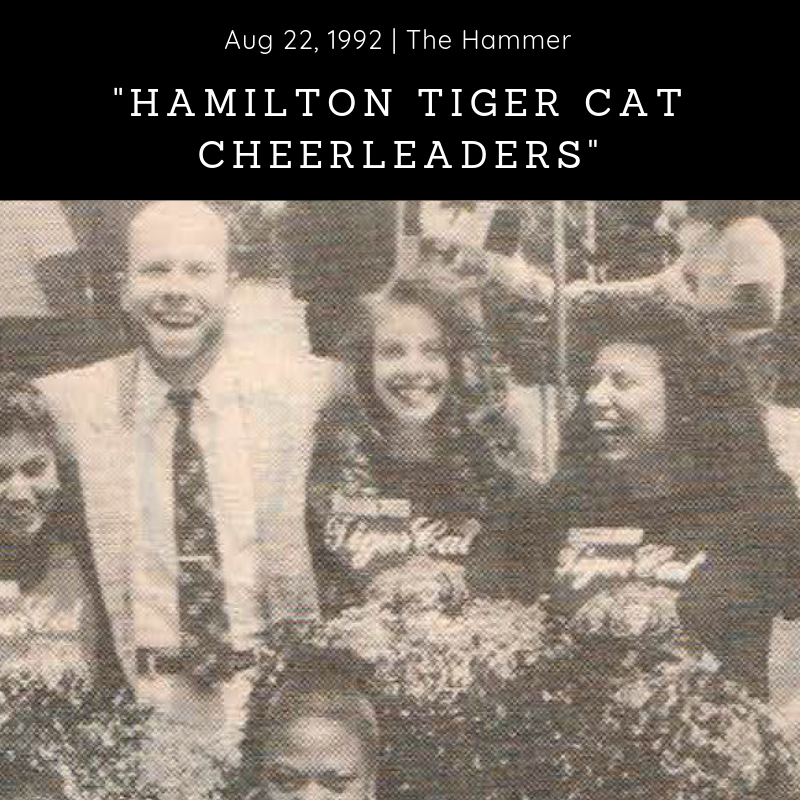 Newspaper (1992) - The Hammer -        'Hamilton Tiger Cat Cheerleaders' -  Download Article
