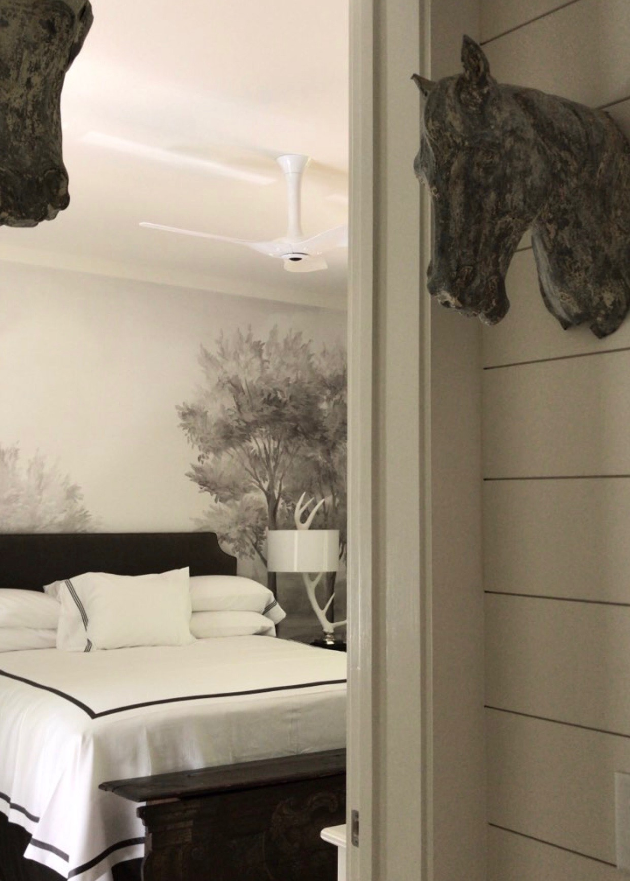 Black and white interior design bedroom by Ann Holden Design