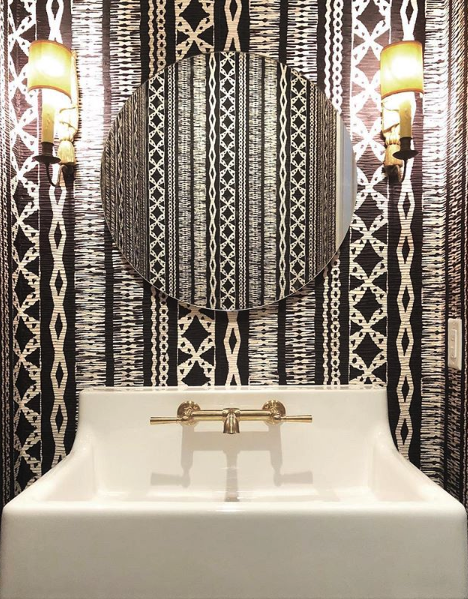 black and white powder room by Ann Holden Design
