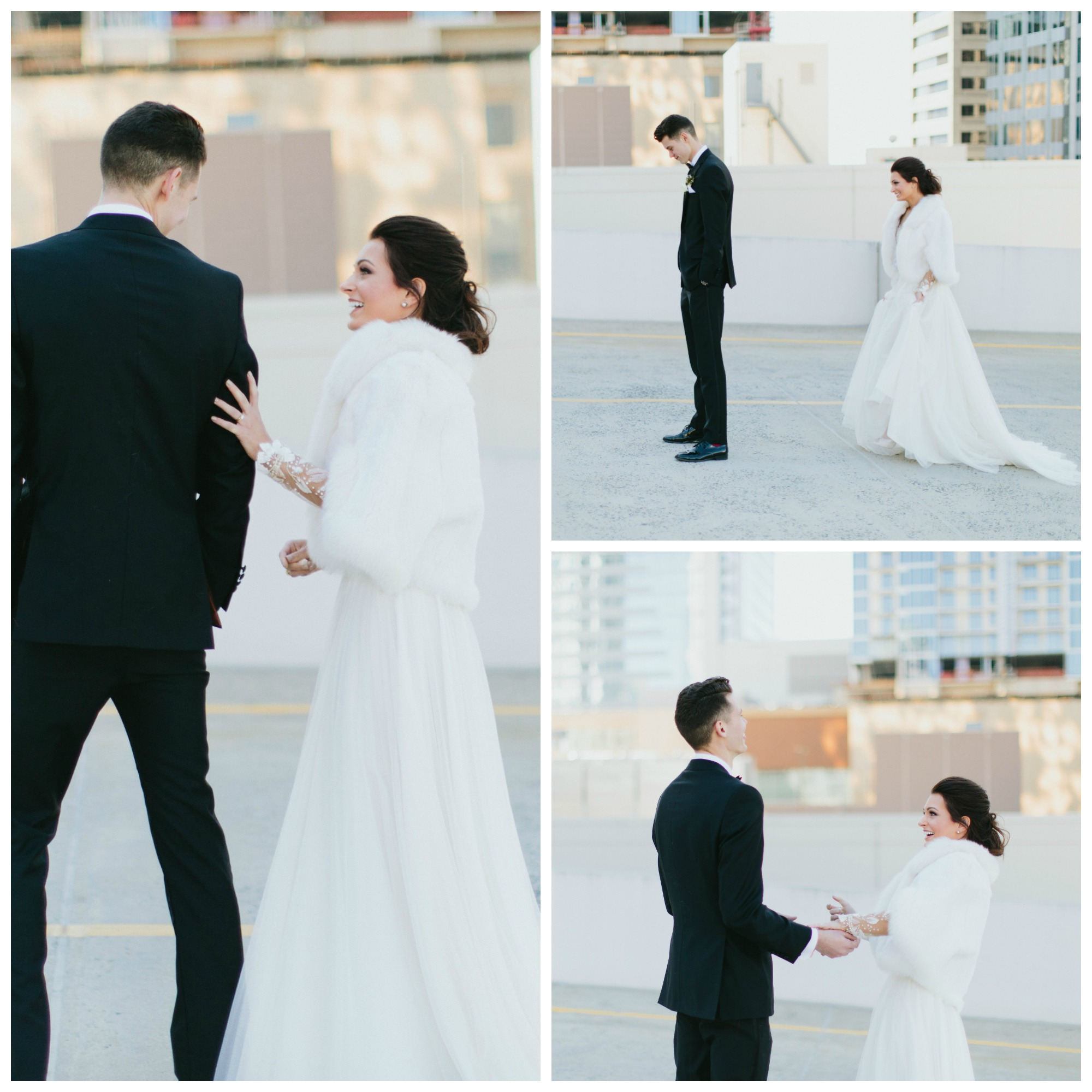 Our first look took place on the top of a parking garage. It was SO beautiful (& SO windy).