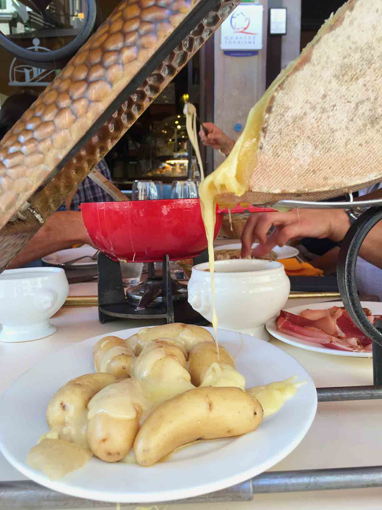 In Strasbourg we had a near ridiculous parade of cheeses.  I loved how dramatic this melted raclette from La Cloche à Fromage felt, especially paired with unpretentious boiled potatoes.
