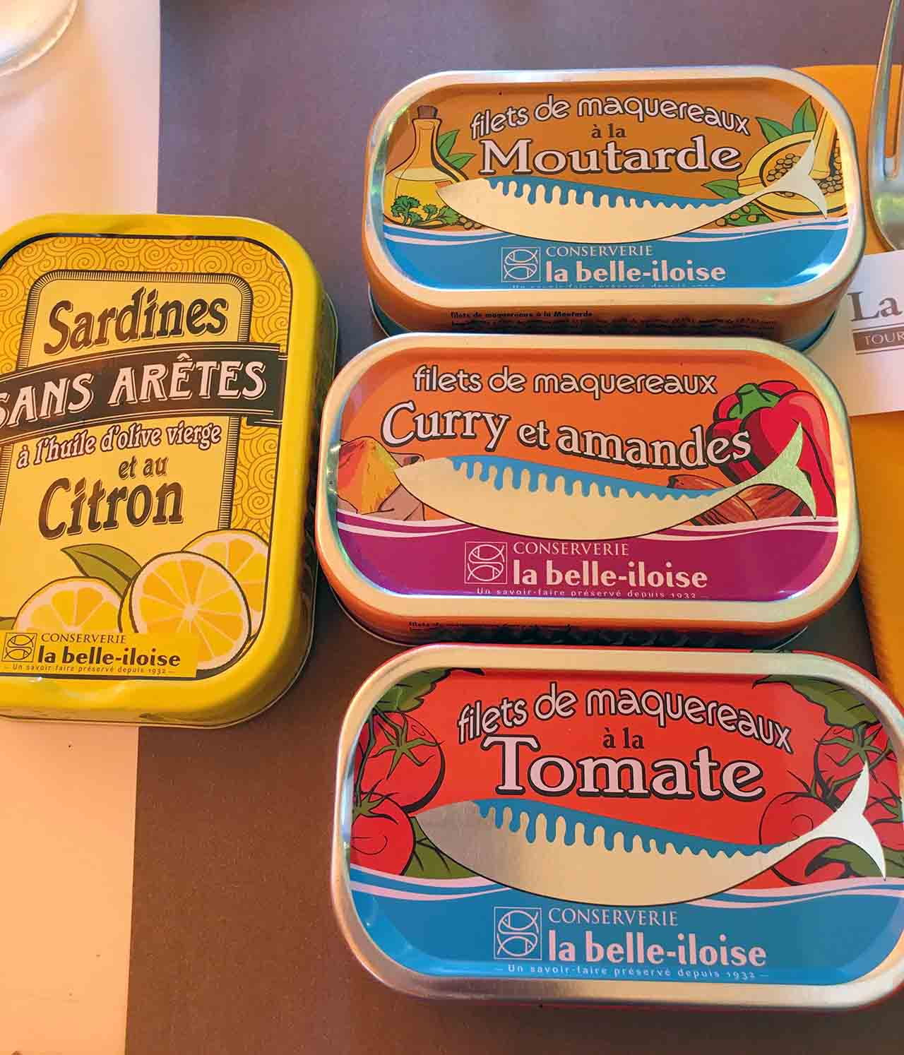 I have a deep love for canned fish. I love dipping bread into that oily sardine juice or squeezing lemon over a beautiful white anchovy. I was happy to bring these beauties home with me.