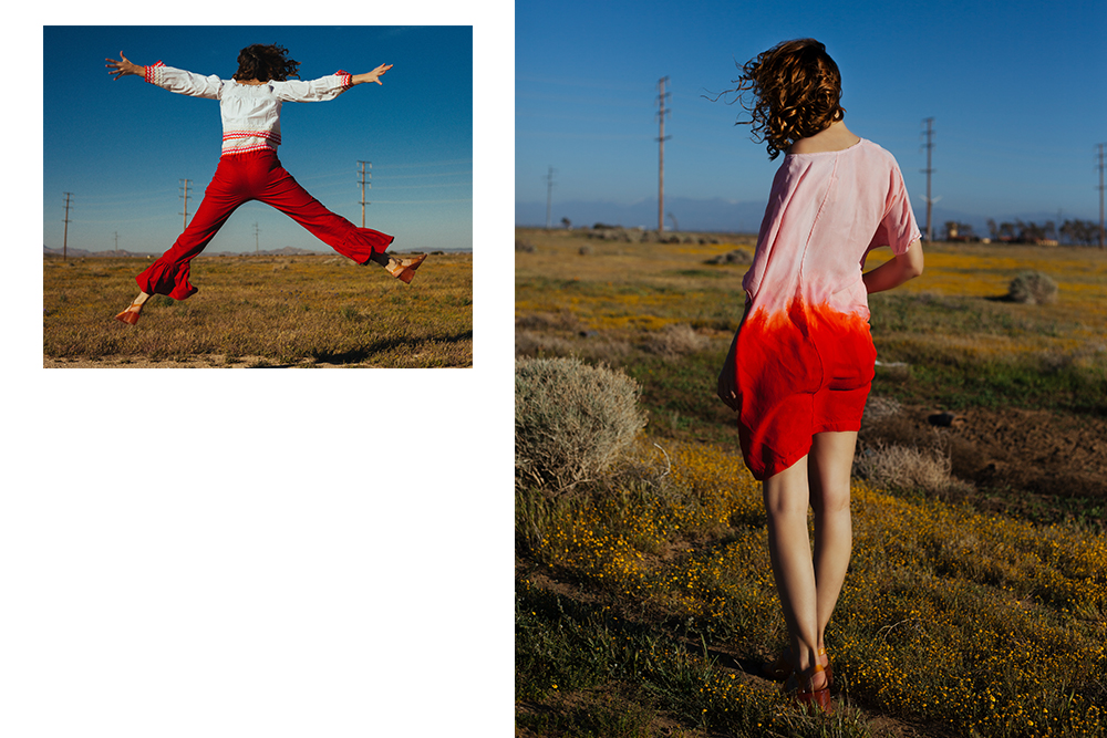 (left) Bliss and Mischief  scalloped off-the-shoulder top and Selva Negra pants, (right) Jill Aiko Yee  'Sunset' tunic