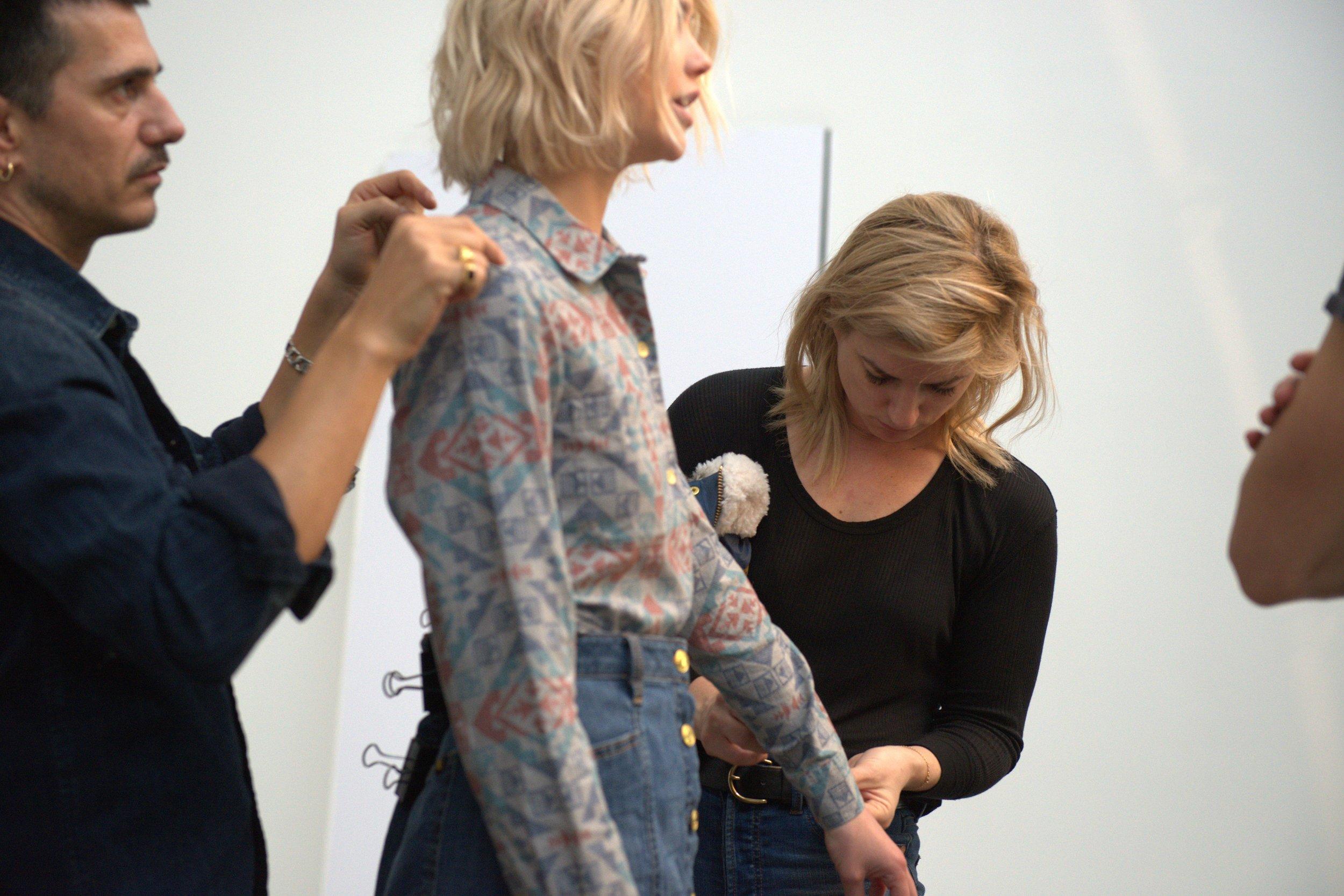 Ilaria styling the 'Northwest' boyfriend flannel shirt,  $80