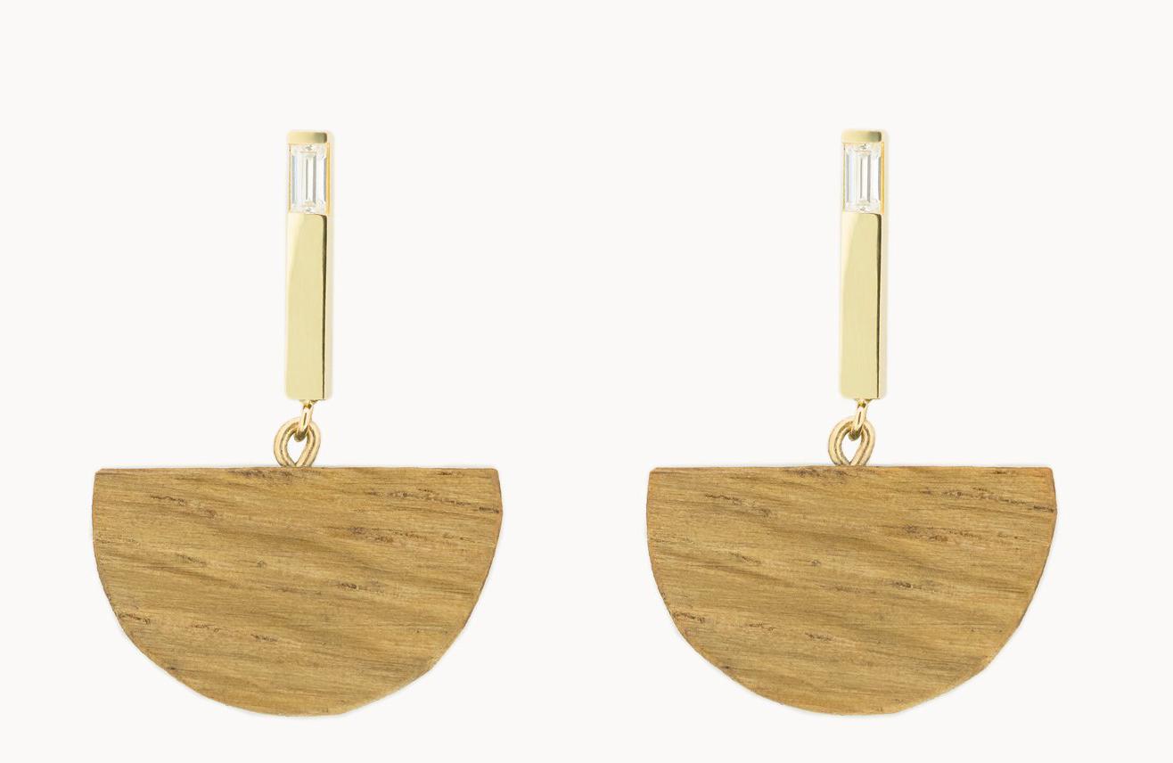 Vrai & Oro x Sophie Monet 'Half Moon Bar' earrings,  $450