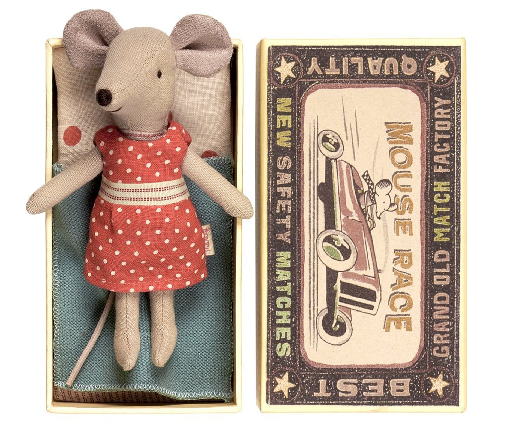 Maileg 'Big Sister Red Polka Dot Mouse in a Box,'  $30