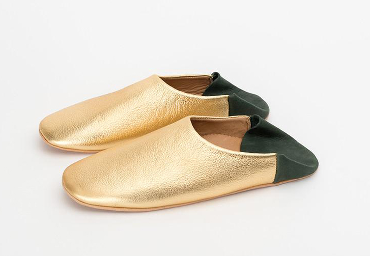 Jill Burrows indoor slippers in Gold & Forest Green, $78