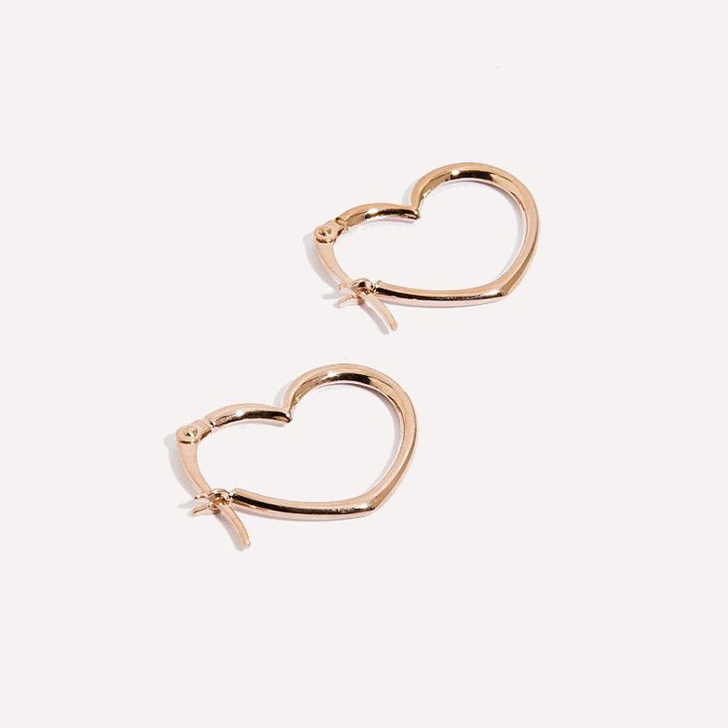 Amarilo heart seam hoops in 14k rose gold,  $250