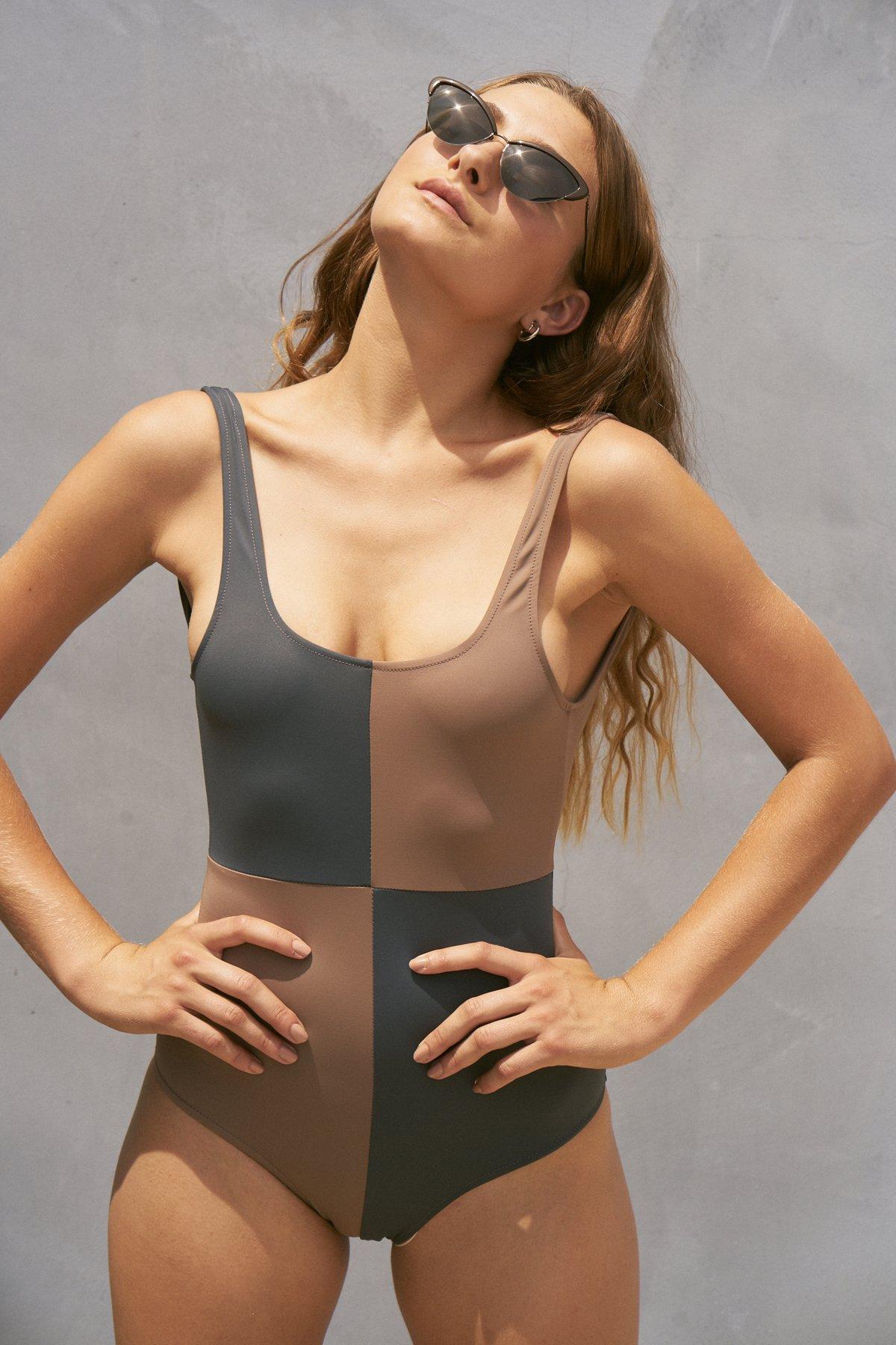 Rika swimsuit in Tamarind/Slate,  $175