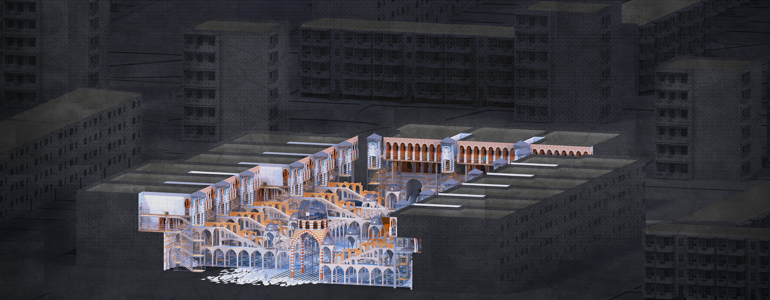 Axonometric of the building complex