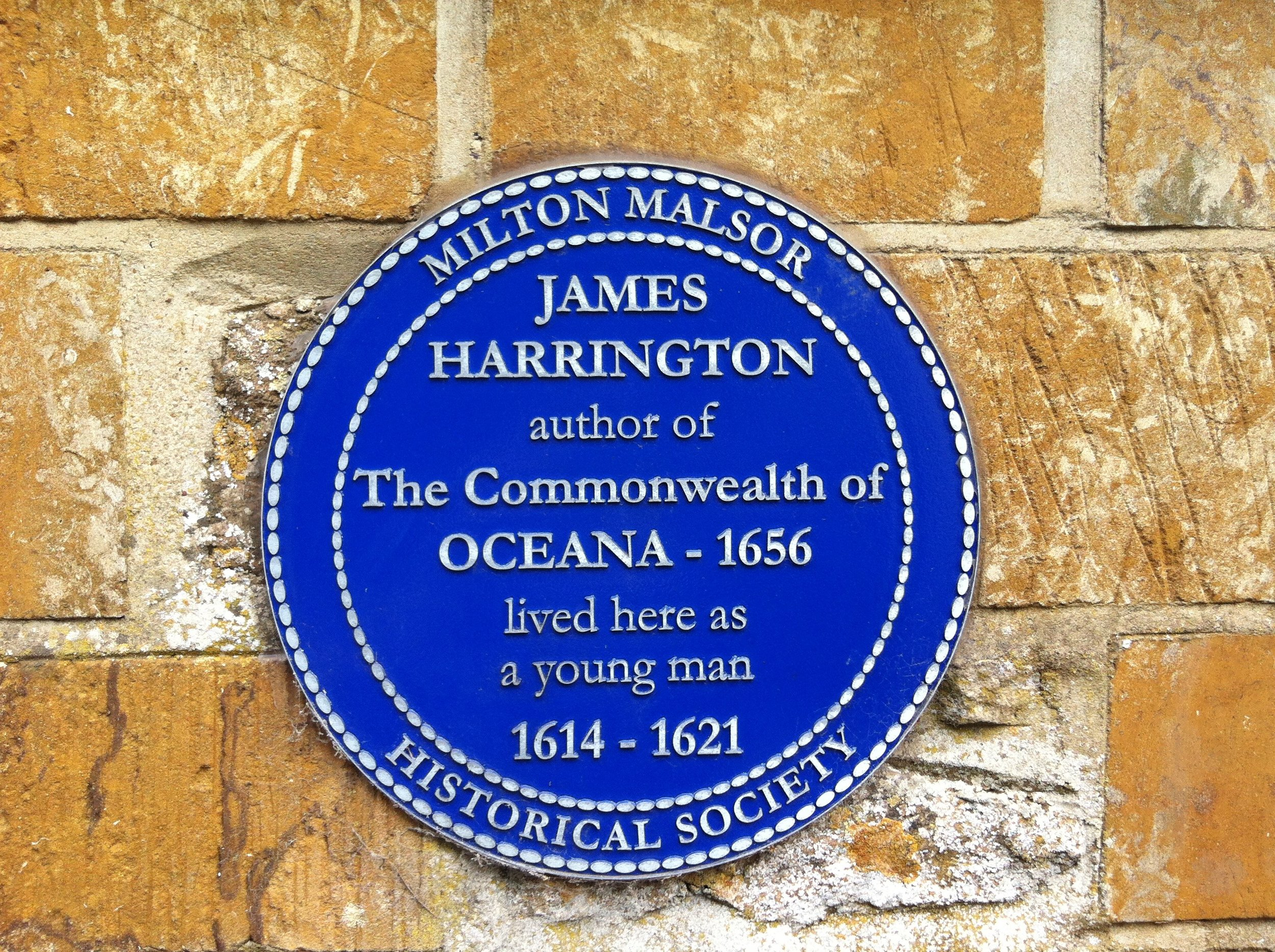 Harrington blue plaque. Photograph by John Gurney.