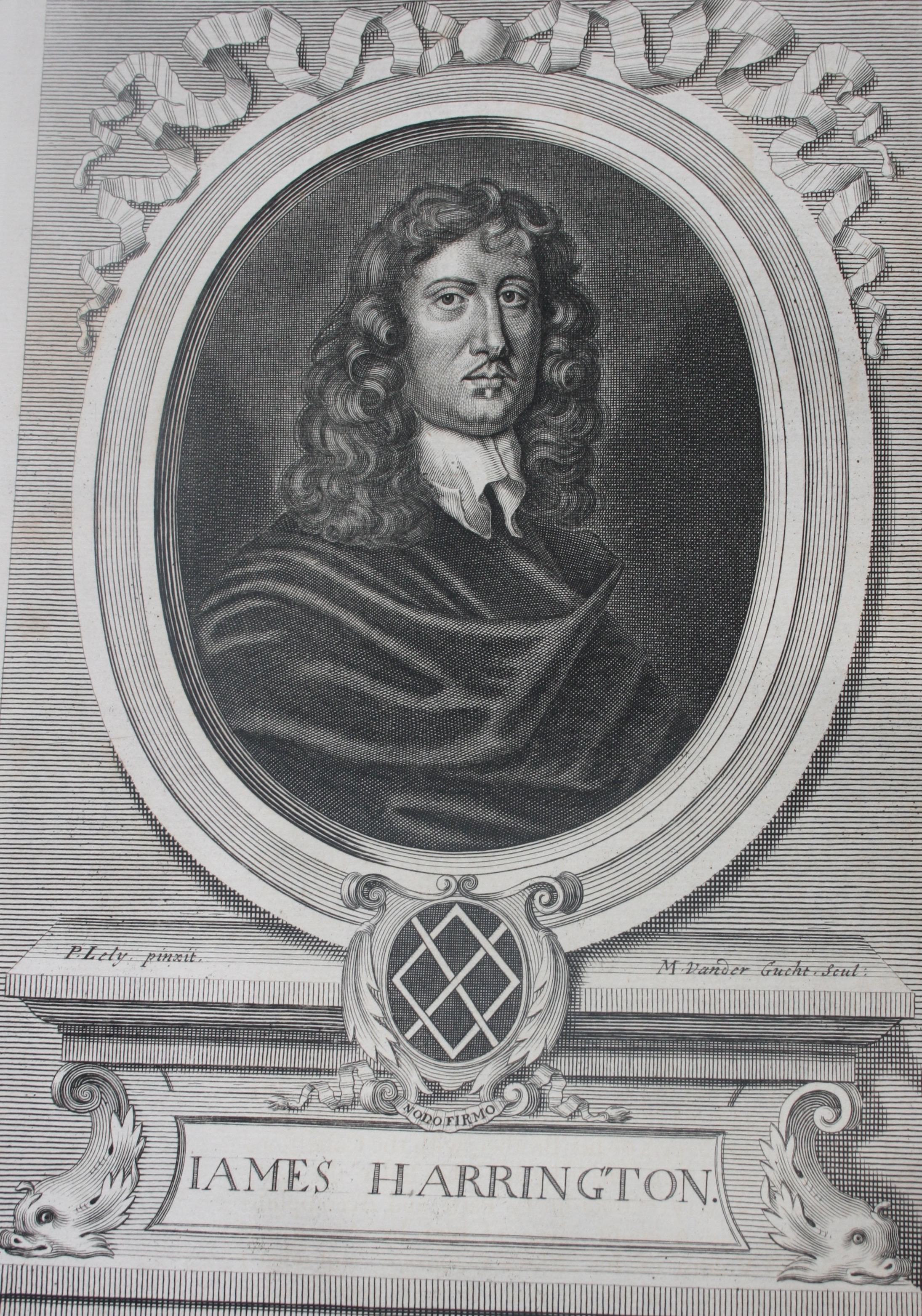 Peter Lely's portrait of James Harrington from John Toland's edition of Harrington's works. Image by Rachel Hammersley, with thanks to James Babb.