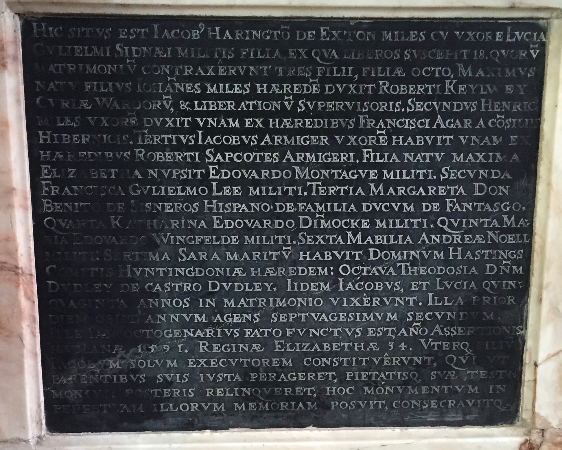 Memorial to Sir James Harington of Exton (1511-1592), father to Sir James and Sir John and great grandfather of James Harrington (1611-1677). Image by Rachel Hammersley.