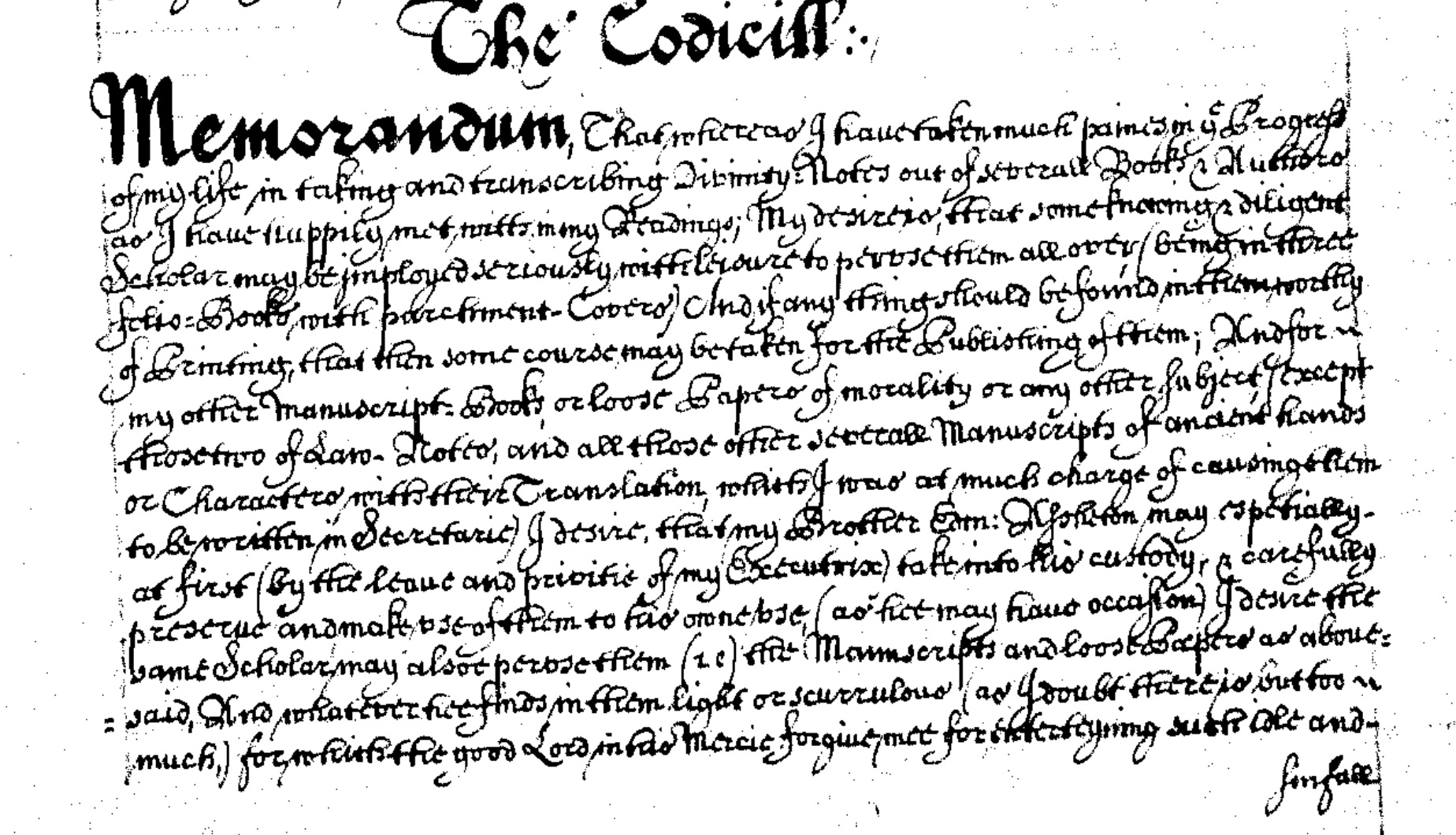 Codicil to Sir Raphe Assheton's will. TNA: PROB 11/362/546. Reproduced with permission from The National Archives.