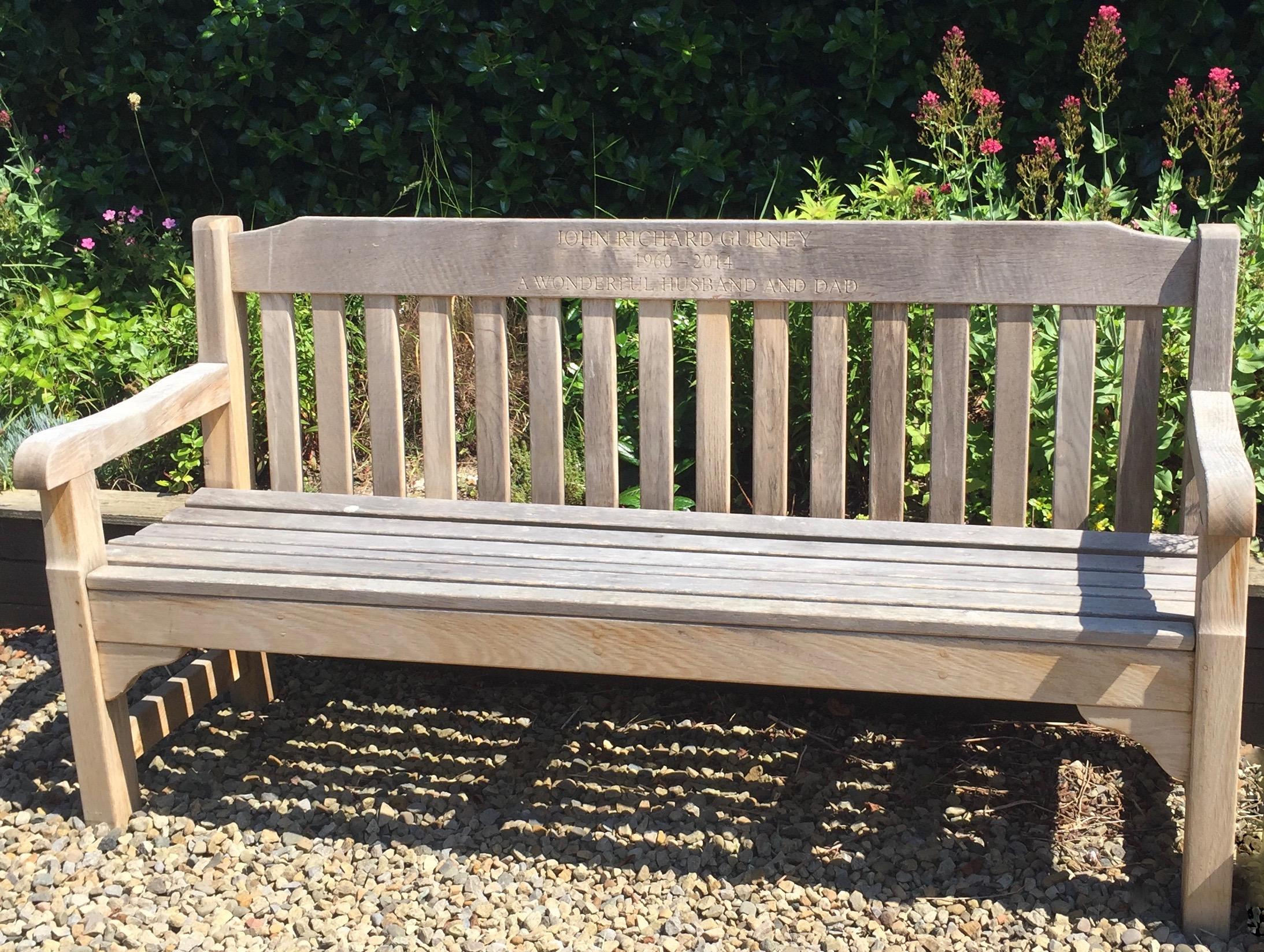 Bench in memory of John Gurney. Image by Rachel Hammersley