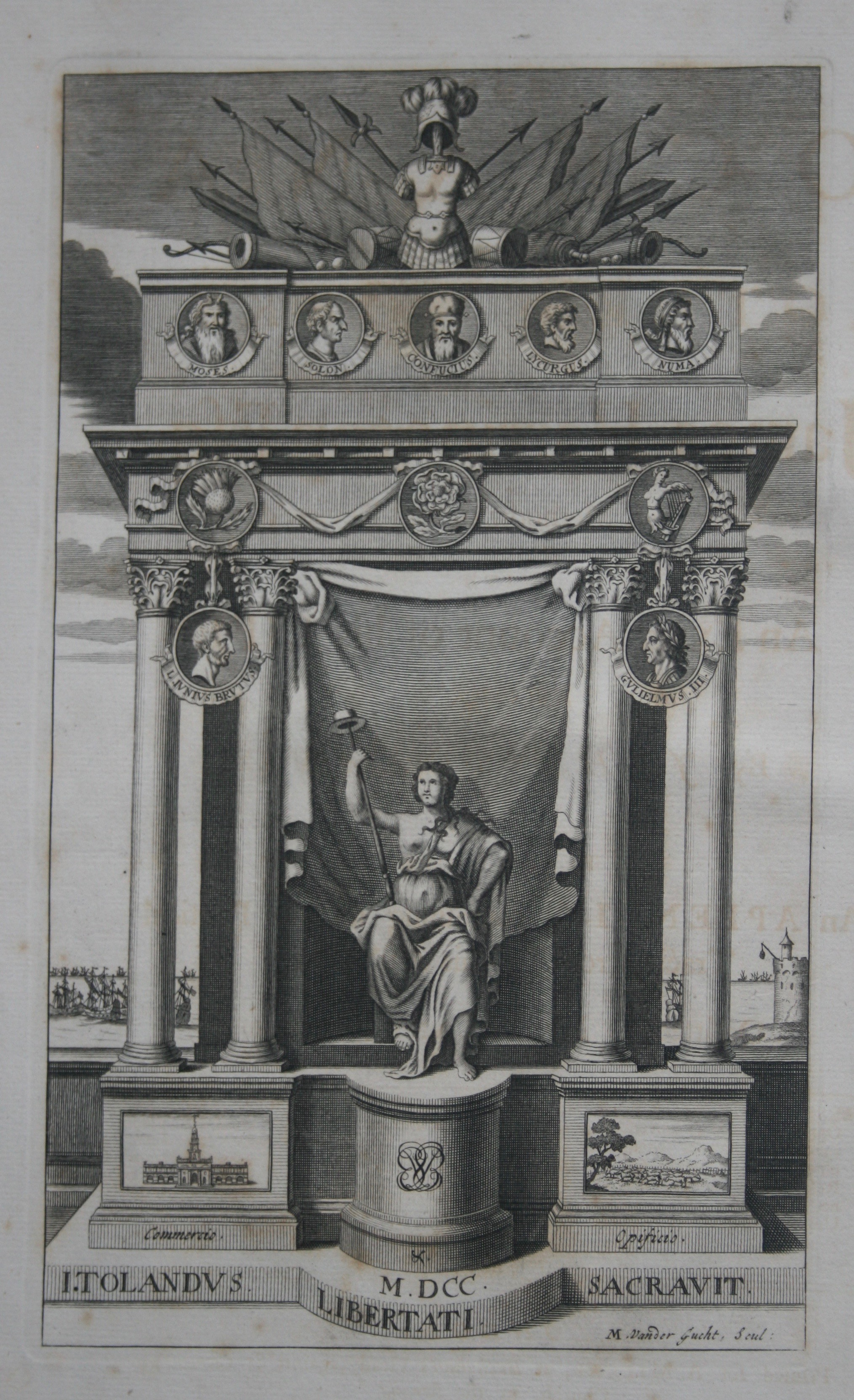 Frontispiece to John Toland's edition of  The Oceana and Other Works of James Harrington  (London, 1737). Private Copy. Image by Rachel Hammersley.