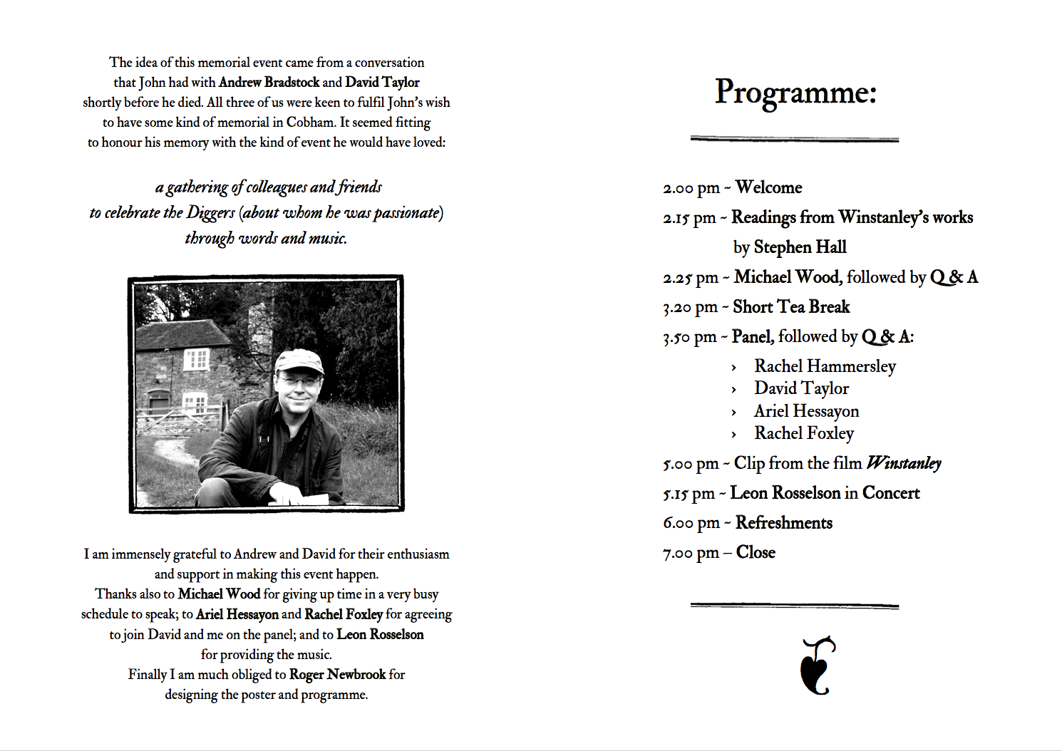 Brave Community programme, designed by Roger Newbrook.