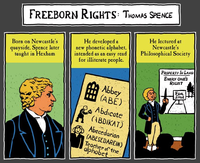 An extract from Freedom City Comics on Thomas Spence, illustrated by Terry Wiley.