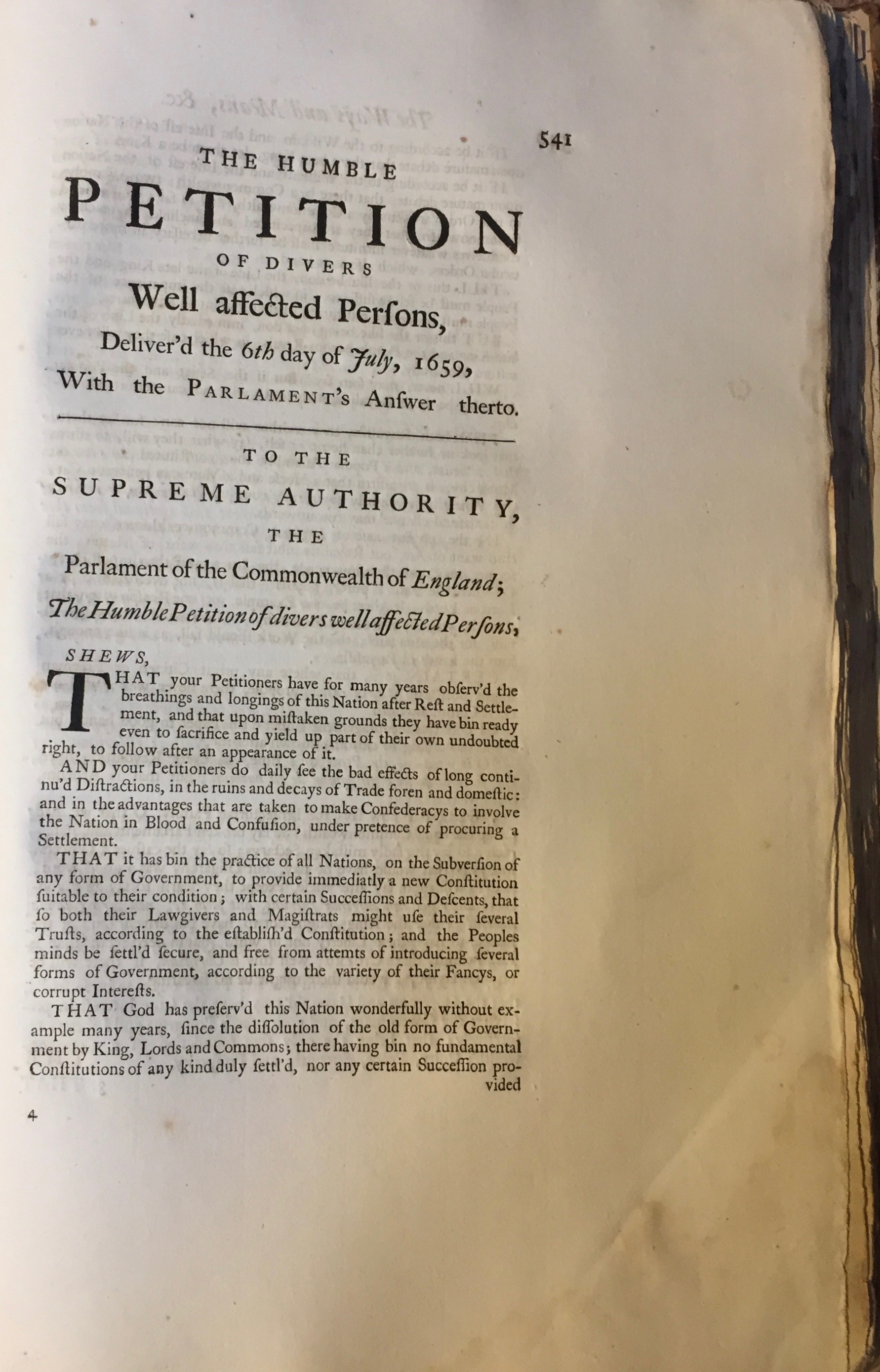 'The Humble Petition of Divers Well Affected Persons',  The Oceana and Other Works of James Harrington,  ed. John Toland (London, 1737). Private copy.