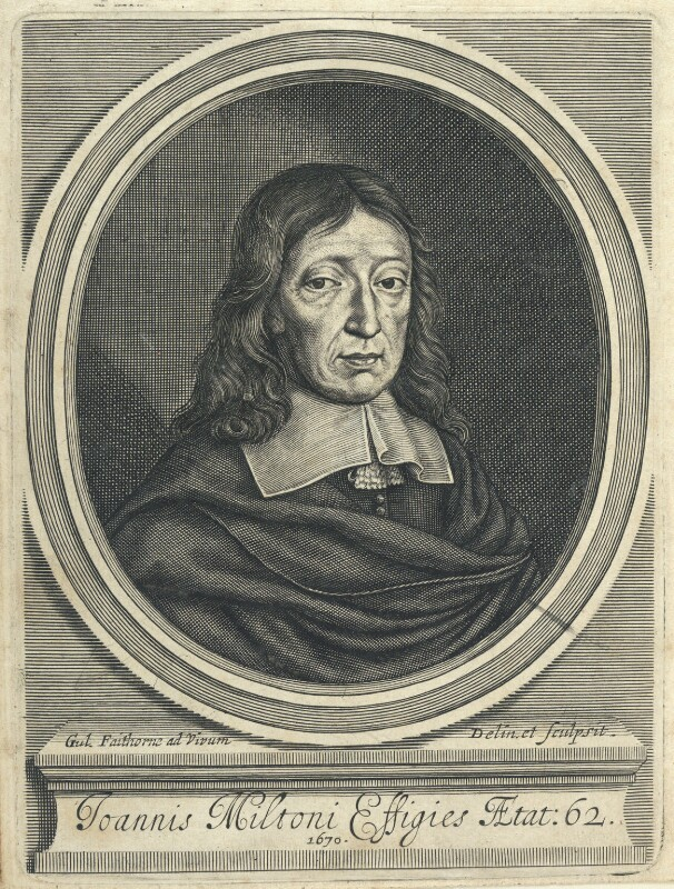 John Milton by William Faithorne, line engraving, 1670. National Portrait Gallery NPG D22856. Reproduced under a Creative Commons License.
