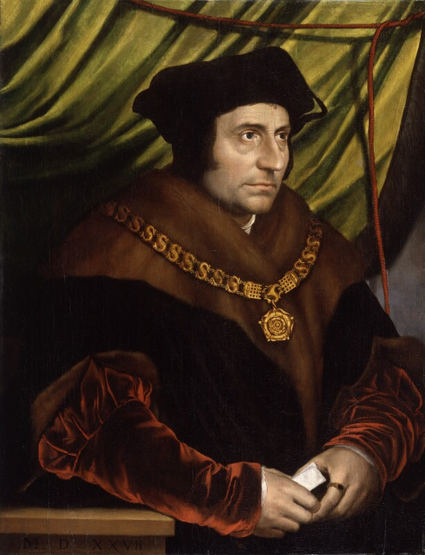Sir Thomas More, after Hans Holbein the Younger, early C17 based on a work of 1527. National Portrait Gallery, NPG 4358. Reproduced under a Creative Commons License.