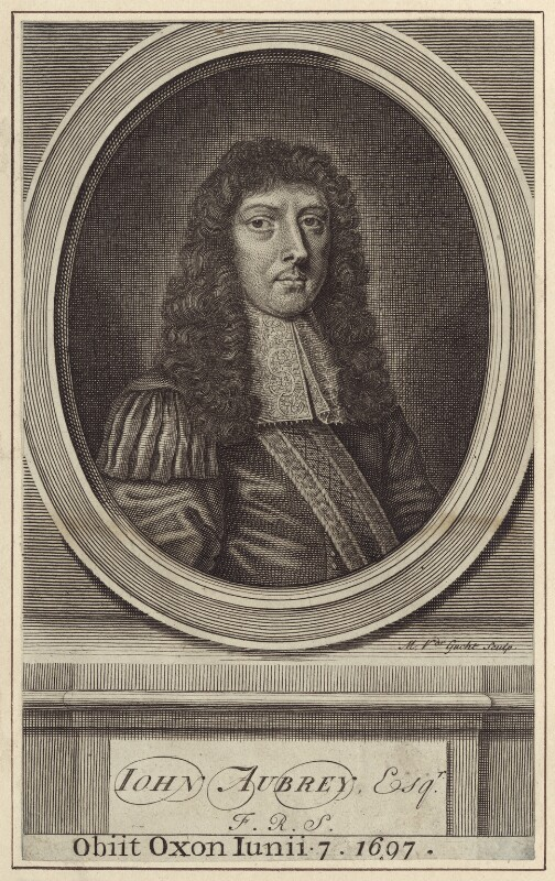 Portrait of John Aubrey by Michael Vandergucht, after William Faithorne, 1719. National Portrait Gallery, NPG D30214. Reproduced under a Creative Commons License.