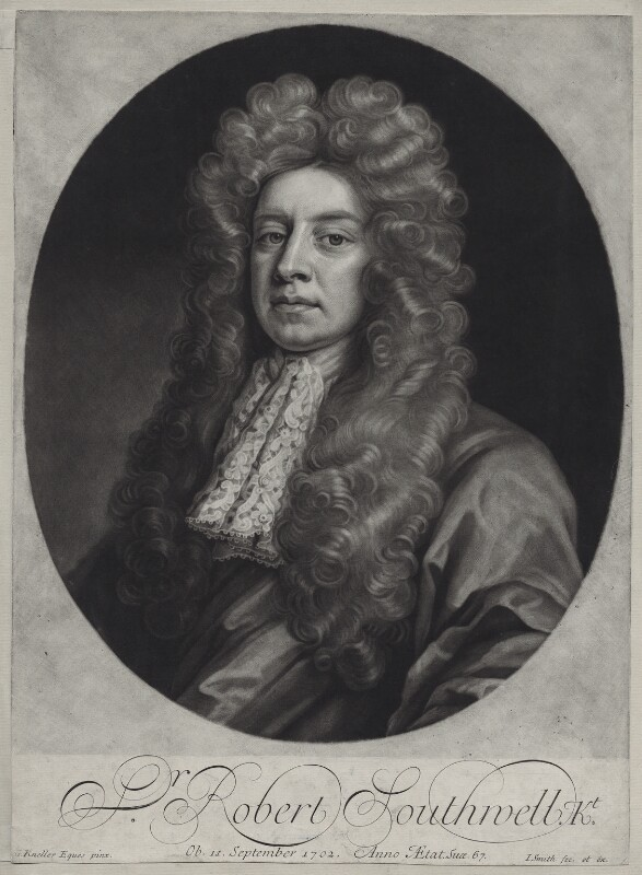 Sir Robert Southwell by John Smith, after Sir Godfrey Kneller, Bt, mezzotint, 1704. Reproduced under a creative commons license from the National Portrait Gallery, NPG D31190.