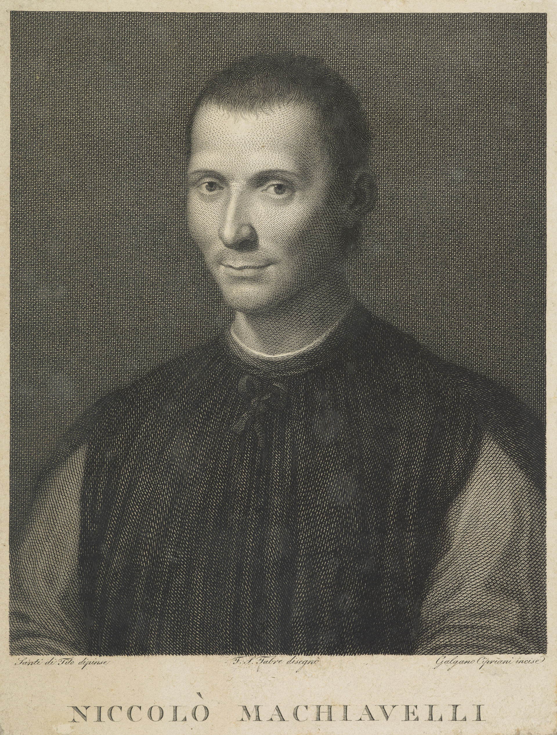 Galgano Cipriani, Niccolo Machiavelli, 1469-1527 Statesman and historiographer, National Galleries Scotland, Accession Number FP I 81.1  https://www.nationalgalleries.org/art-and-artists/34757/niccolo-machiavelli-1469-1527-statesman-and-historiographer