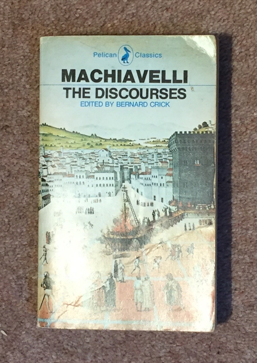 The author's copy of the penguin edition of Machiavelli's  Discourses .