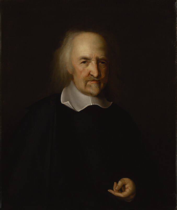 Thomas Hobbes, after John Michael Wright, oil on canvas, based on a work of c.1669-70. National Portrait Gallery, NPG 106. Reproduced under a creative commons license.