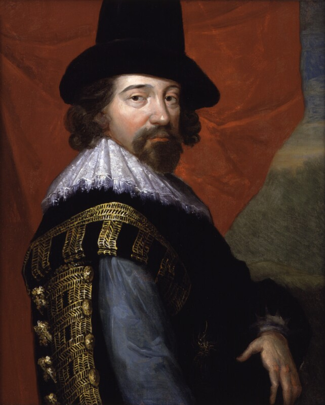 Francis Bacon by John Vanderbank after an unknown artist, 1731? based on a work of c.1618. National Portrait Gallery NPG 520. Reproduced under a creative commons license. According to the English Heritage information board at old Gorhambury, the original image now hangs in the dining room at new Gorhambury.