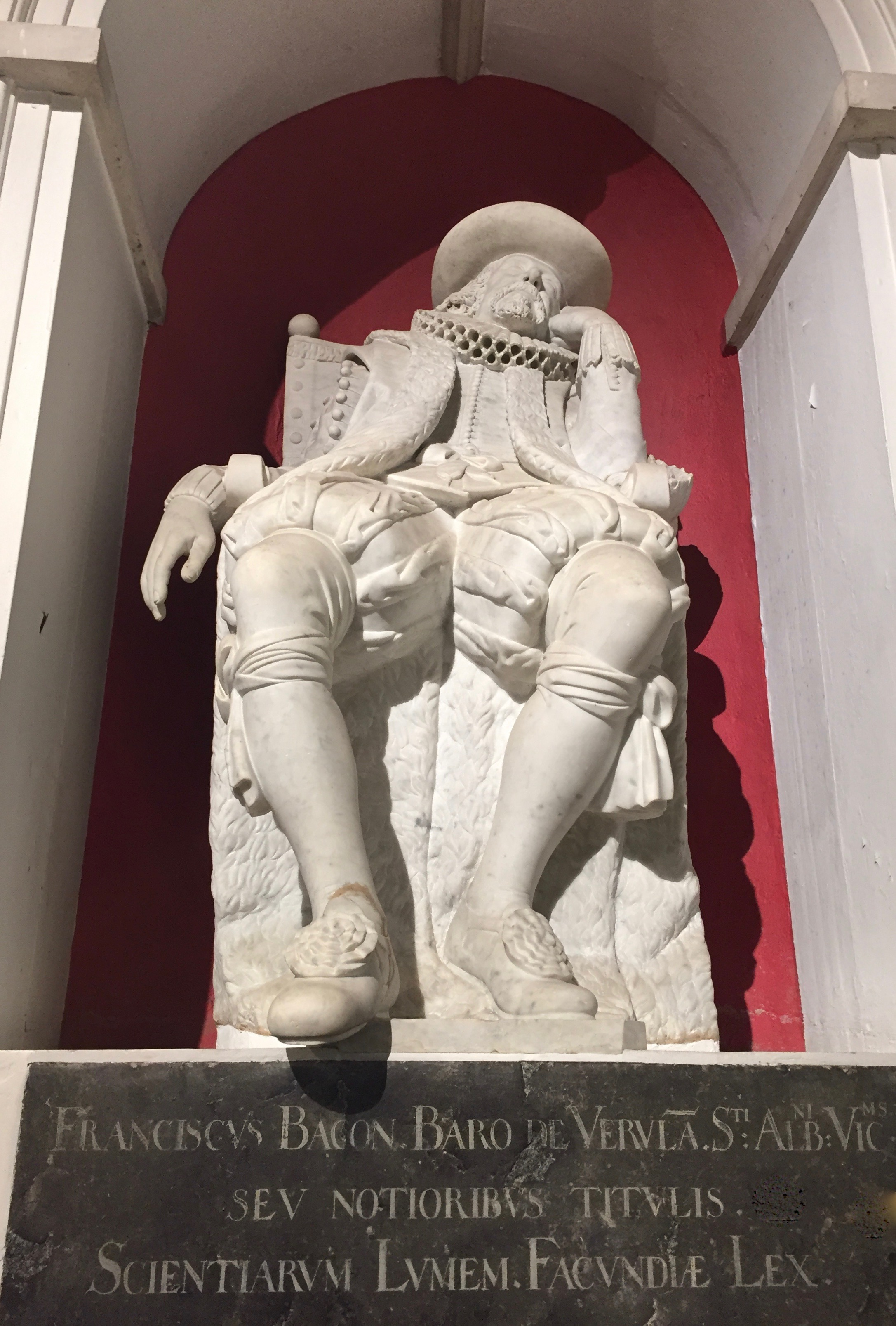The statue of Sir Francis Bacon in St Michael's Church, St Albans. Image by Rachel Hammersley