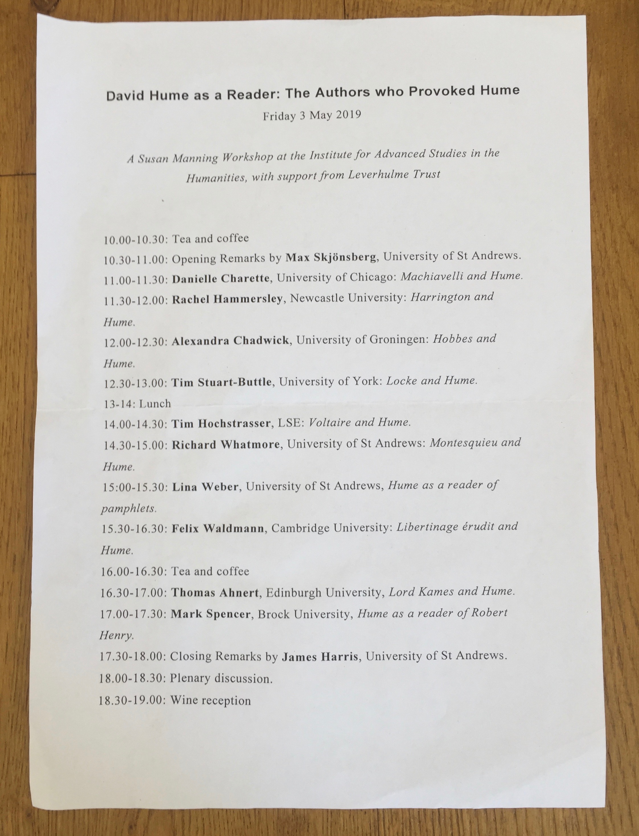 Programme for the workshop 'David Hume as Reader: The Authors who Provoked Hume', 03.05.19.
