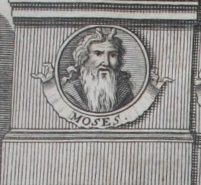Image of Moses as taken from the frontispiece to  The Oceana and other works of James Harrington,  ed. John Toland (London, 1737). Private copy. Image by Rachel Hammersley.