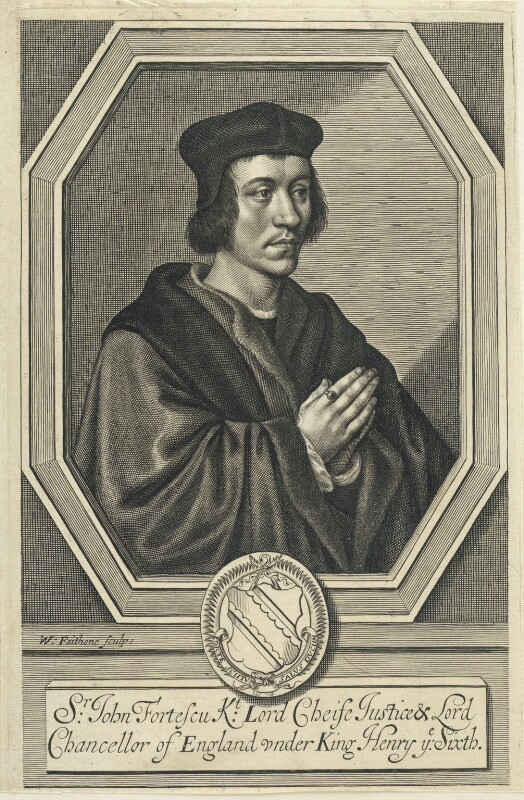 Sir John Fortescue by William Faithorne, line engraving, published 1663. Reproduced under a Creative Commons License from the National Portrait Gallery - NPG D22739.