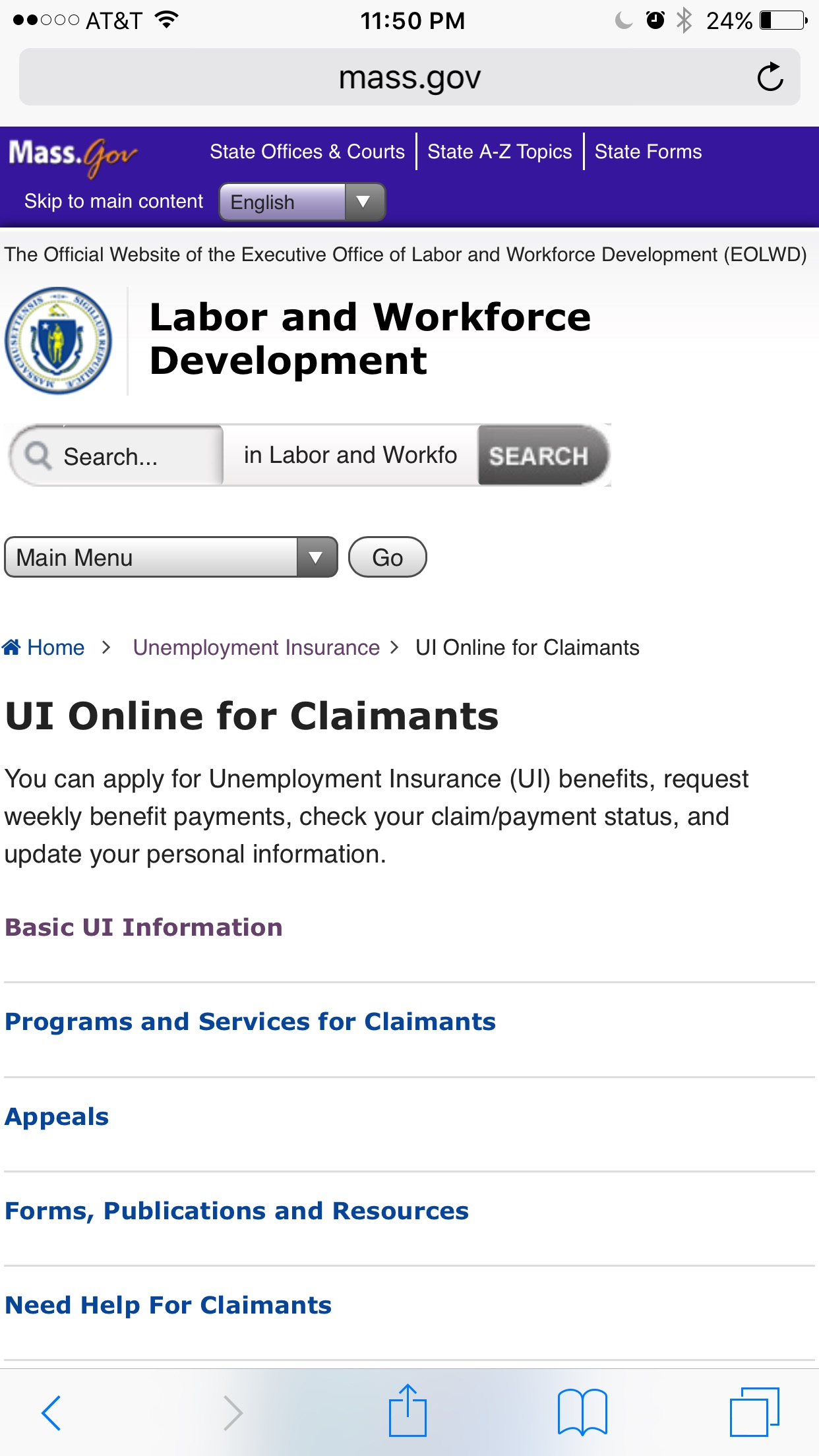 The landing page gives every indication that applying for unemployment is possible, but no indication of how.