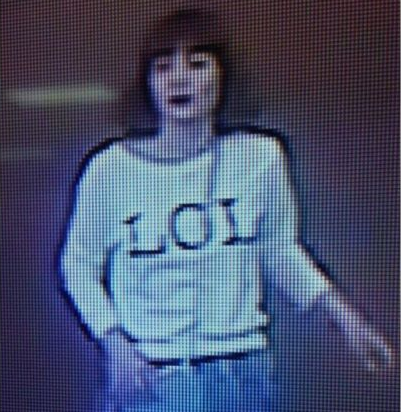 CCTV IMAGE OF ONE OF THE TWO OPERATIVES WHO CARRIED OUT THE KIM JONG NAM ASSASSINATION, WEARING AN 'LOL' T SHIRT. WE'RE NOT KIDDING